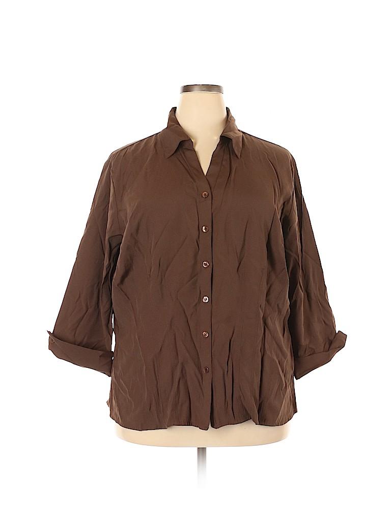 DressBarn Women Long Sleeve Button-Down Shirt Size 22 - 24 Plus (Plus)