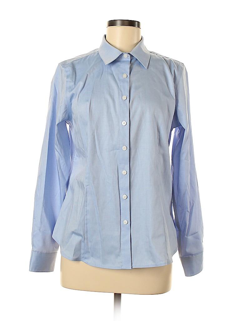 Ellen Tracy Women Long Sleeve Button-Down Shirt Size M