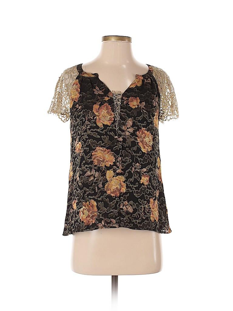 HD in Paris Women Short Sleeve Silk Top Size 0
