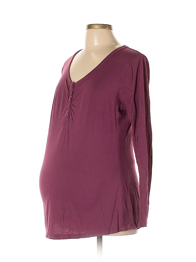 Liz Lange Maternity for Target Women Long Sleeve Henley Size L (Maternity)