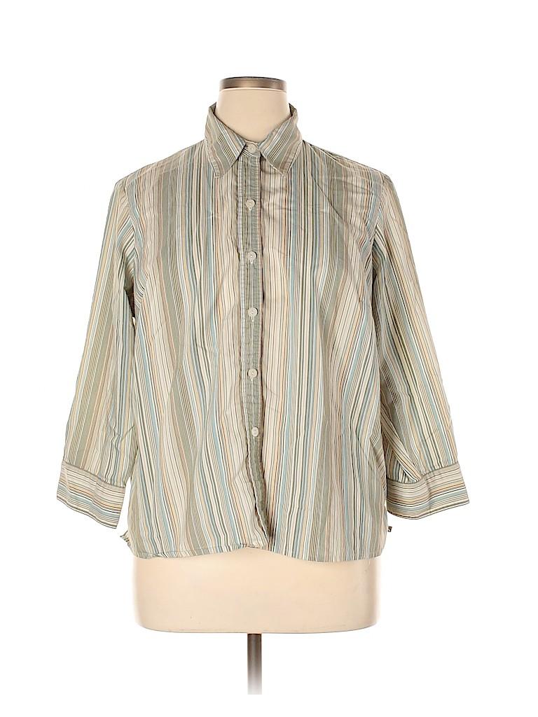 Villager Women Long Sleeve Button-Down Shirt Size 16W