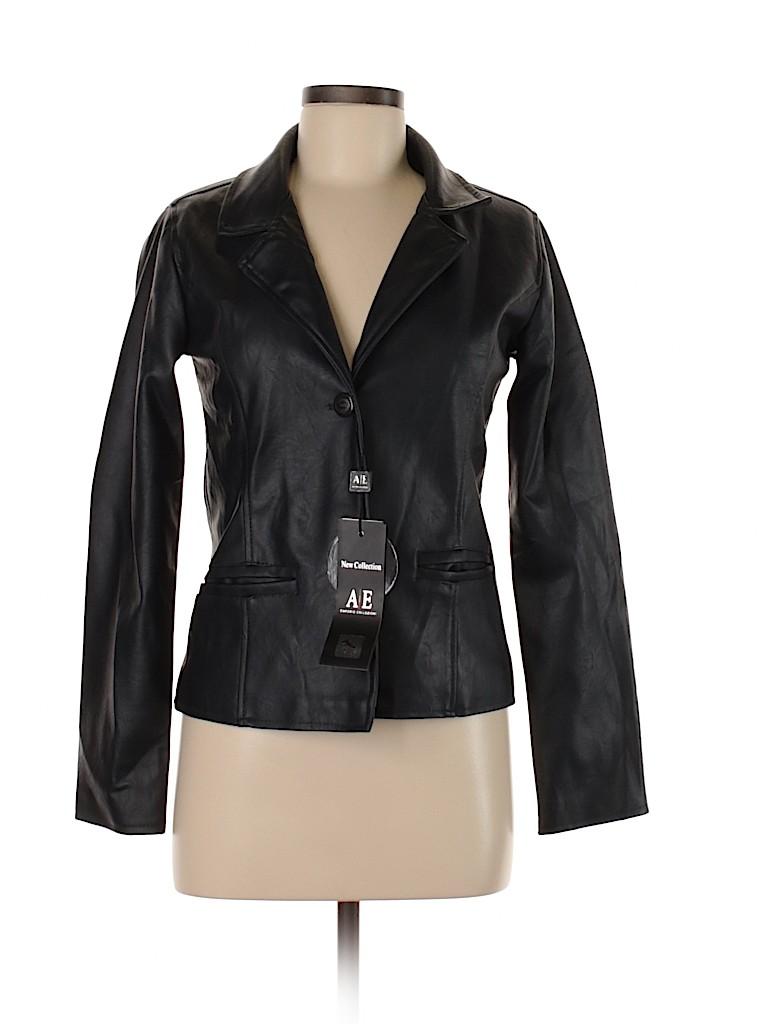 Emporio Collezione Women Faux Leather Jacket Size M