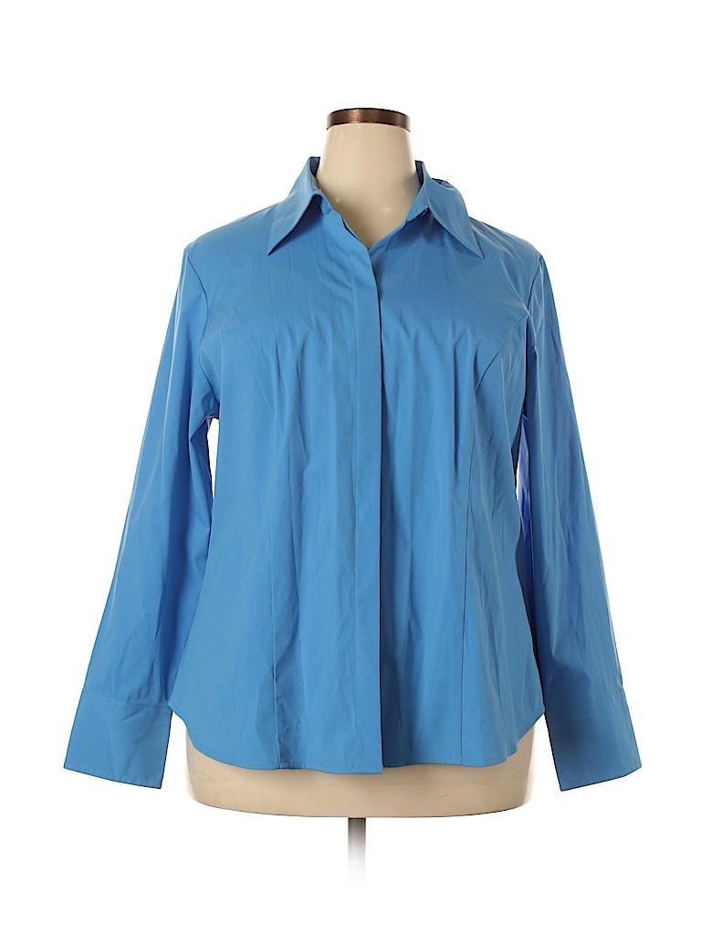 Lane Bryant Women Long Sleeve Button-Down Shirt Size 18/20 (Plus)