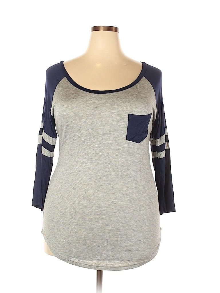 Splash Women 3/4 Sleeve T-Shirt Size 2X (Plus)