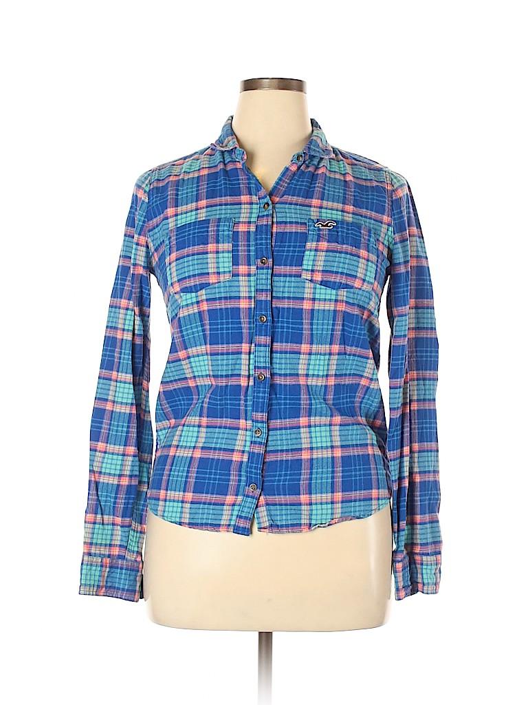 Hollister Women Long Sleeve Button-Down Shirt Size L