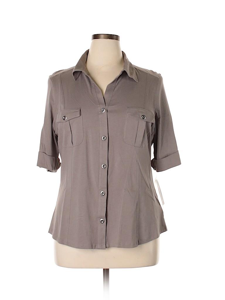 Style&Co Women Short Sleeve Button-Down Shirt Size XL