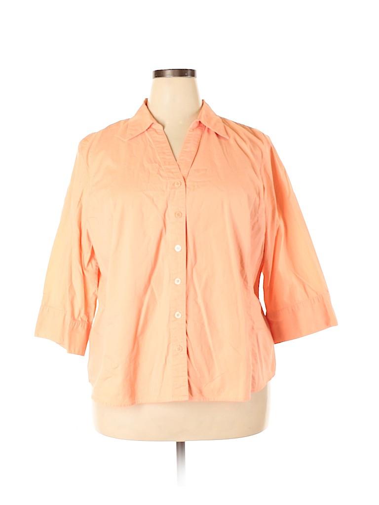 Style&Co Women 3/4 Sleeve Button-Down Shirt Size 24W (Plus)