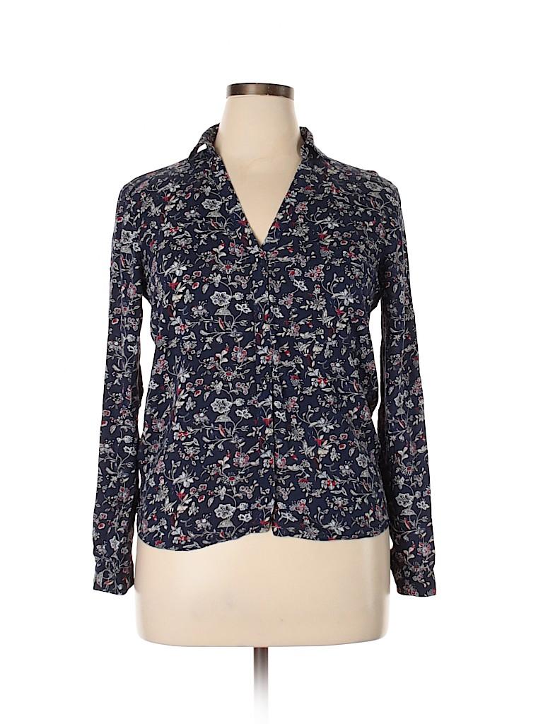 Zara Basic Women Long Sleeve Button-Down Shirt Size L