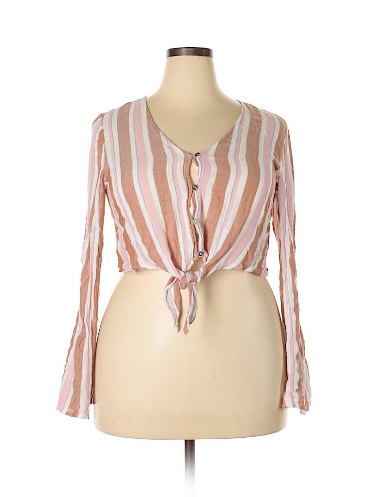 Xhilaration Women Long Sleeve Blouse Size XXL