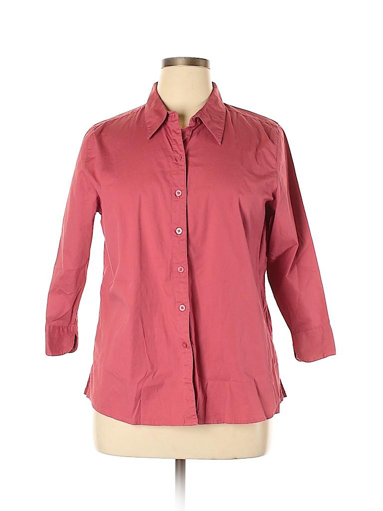 Cherokee Women 3/4 Sleeve Button-Down Shirt Size XL