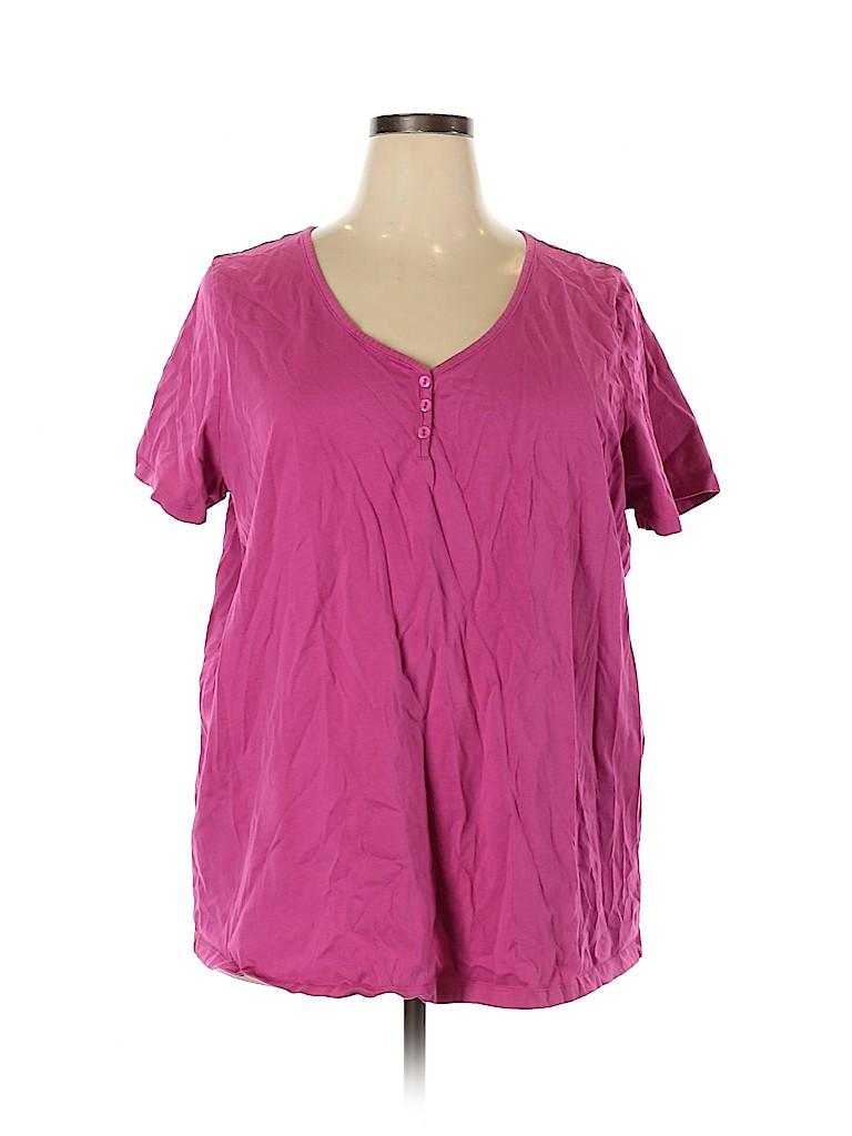 Roaman's Women Short Sleeve Henley Size 26 (2X) (Plus)