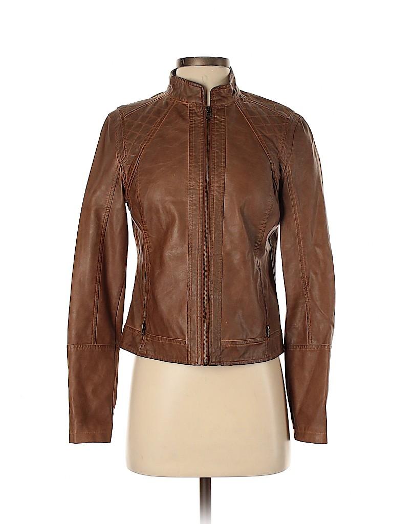 Ann Taylor Women Faux Leather Jacket Size 4