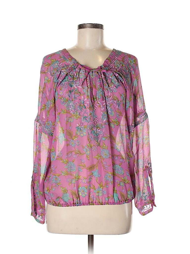 Calypso by Christiane Celle Women Long Sleeve Silk Top Size Sm (0)