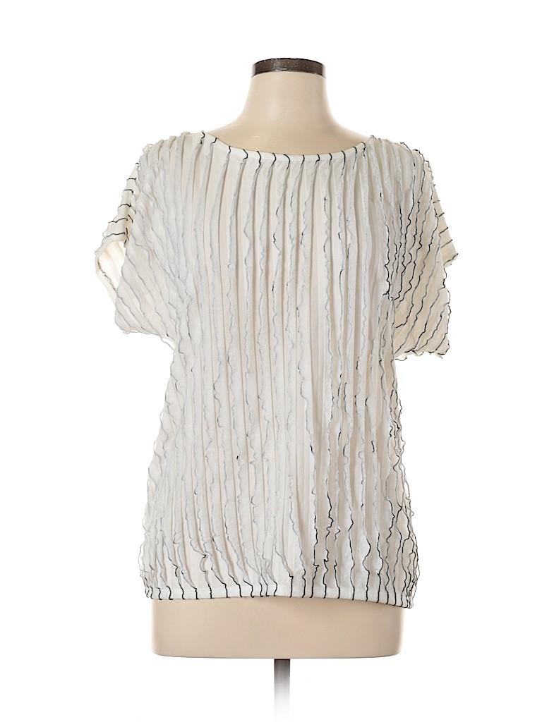 AB Studio Women Short Sleeve Blouse Size L