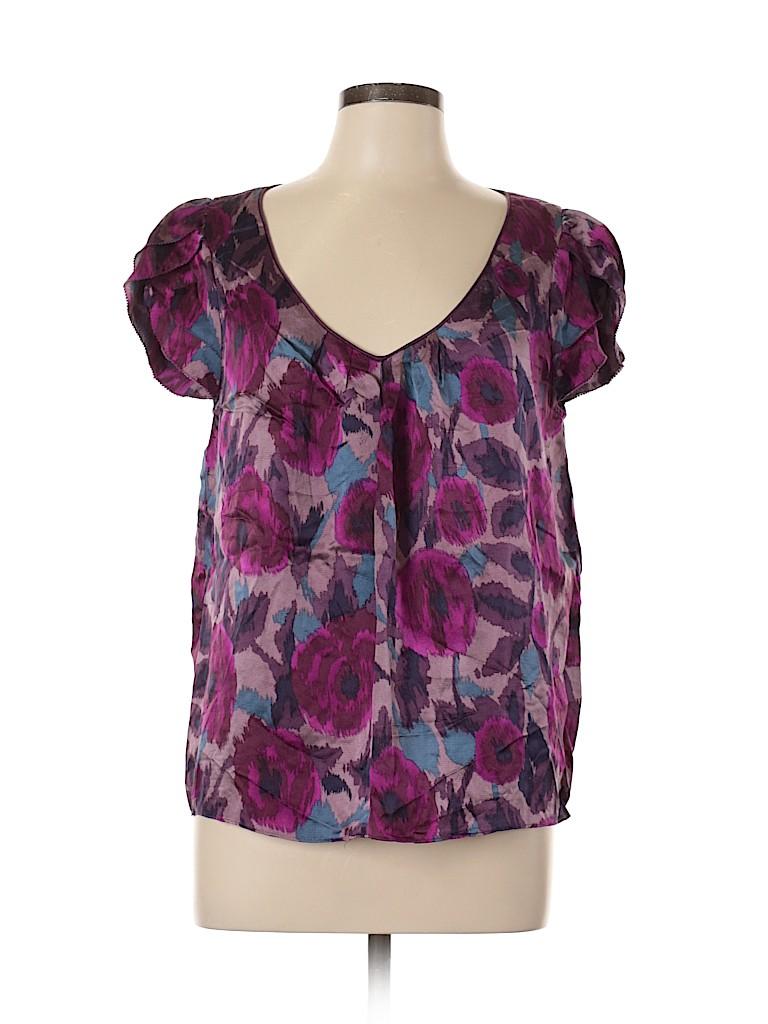 Kenar Women Short Sleeve Silk Top Size L