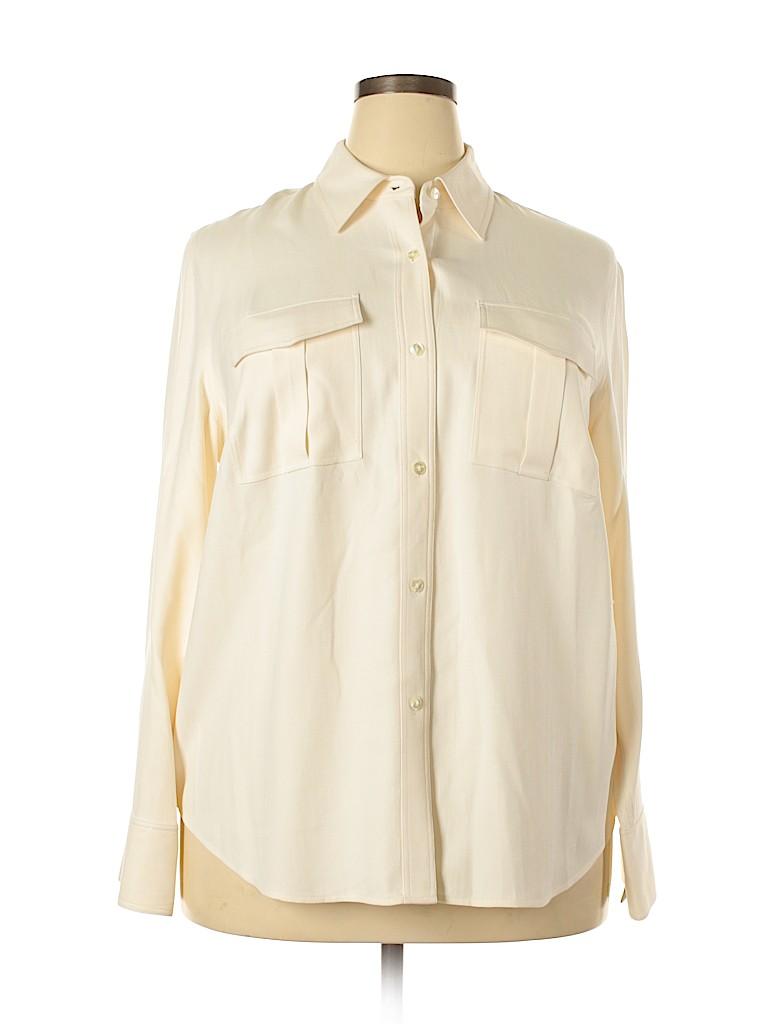 Kate Hill Women Long Sleeve Silk Top Size 1X (Plus)