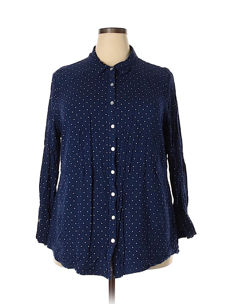 Cupio Women Long Sleeve Button-Down Shirt Size 2X (Plus)