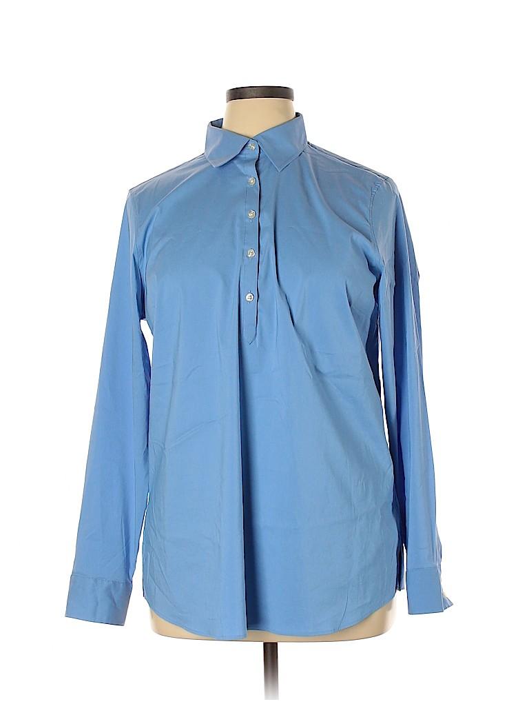 Lands' End Women Long Sleeve Button-Down Shirt Size 16