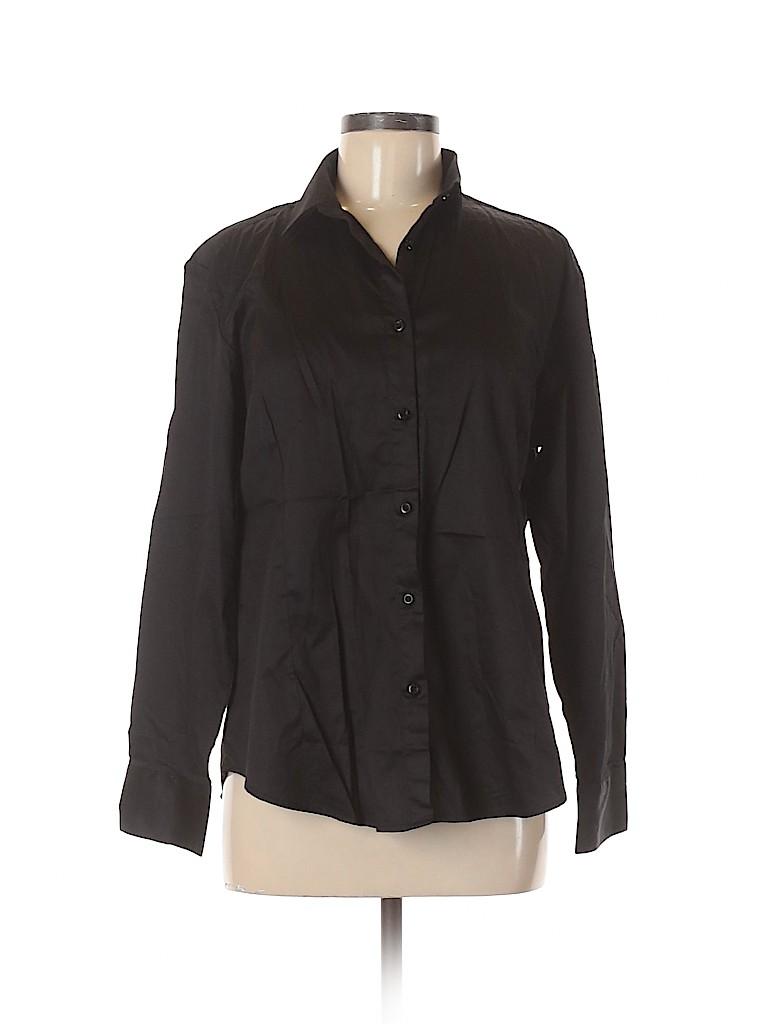 Assorted Brands Women Long Sleeve Button-Down Shirt Size L