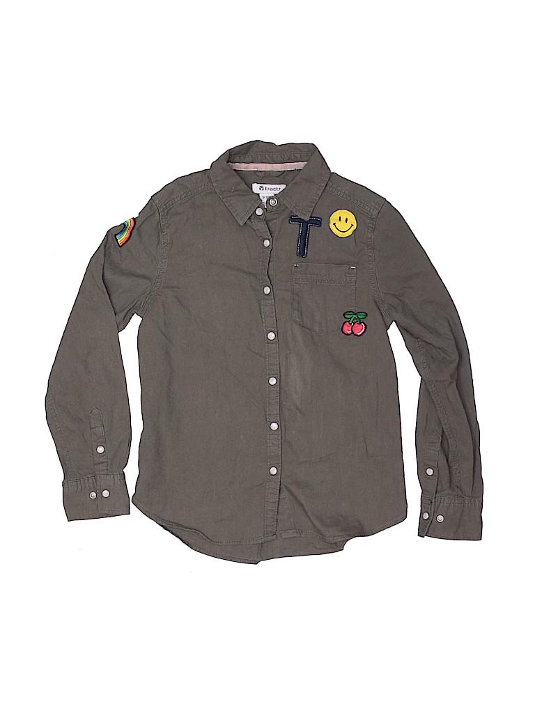 Tractr Girls Long Sleeve Button-Down Shirt Size S (Kids)