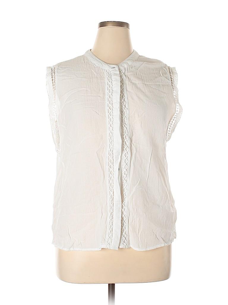 A New Day Women Short Sleeve Button-Down Shirt Size XL