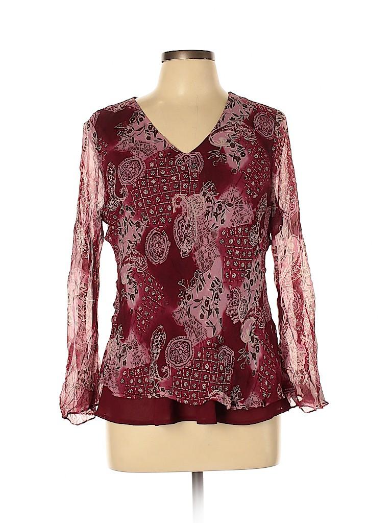 Fashion Bug Women Long Sleeve Silk Top Size L
