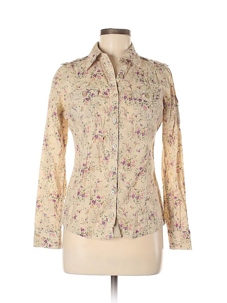 Mudd Women Long Sleeve Button-Down Shirt Size M