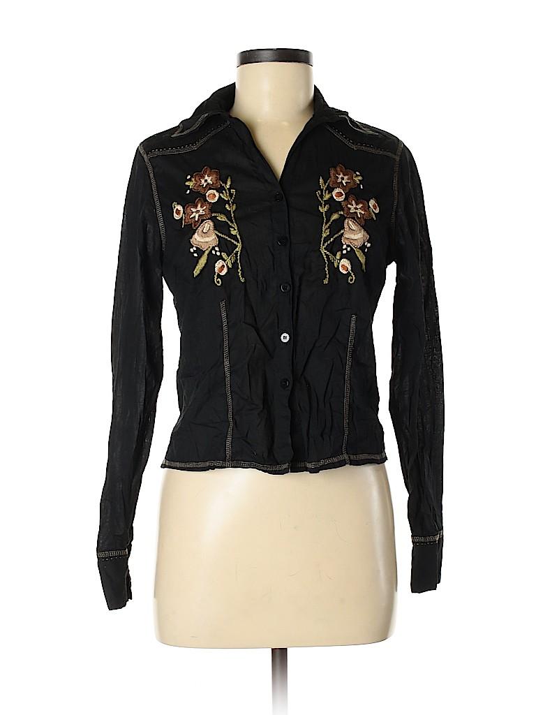 Funky People Women Long Sleeve Button-Down Shirt Size M