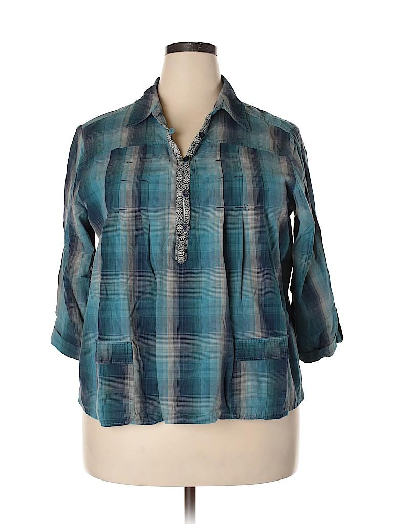DressBarn Women 3/4 Sleeve Button-Down Shirt Size 18 (Plus)