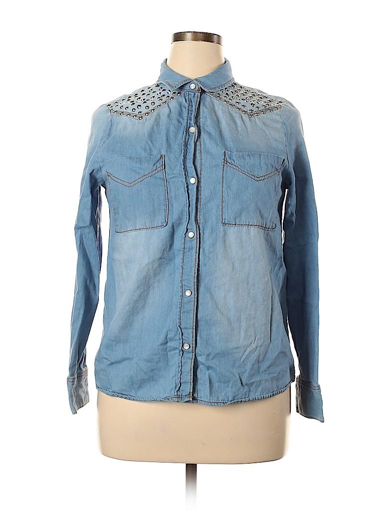 Mudd Women Long Sleeve Button-Down Shirt Size XL