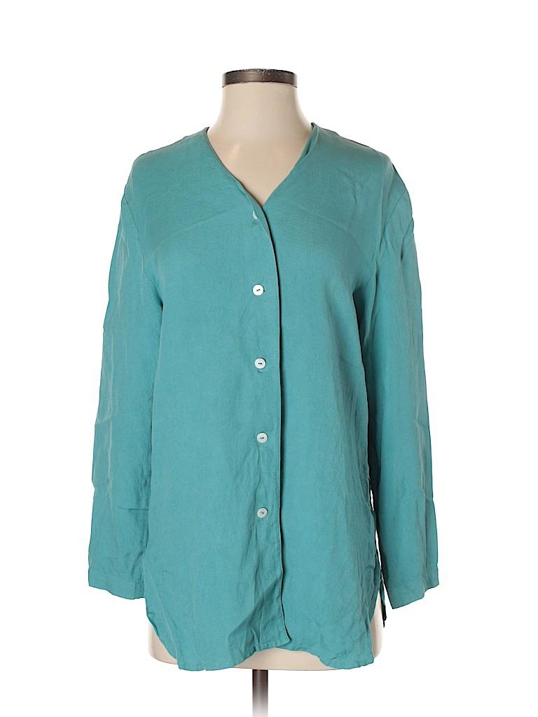 Mix It Women Long Sleeve Silk Top Size S