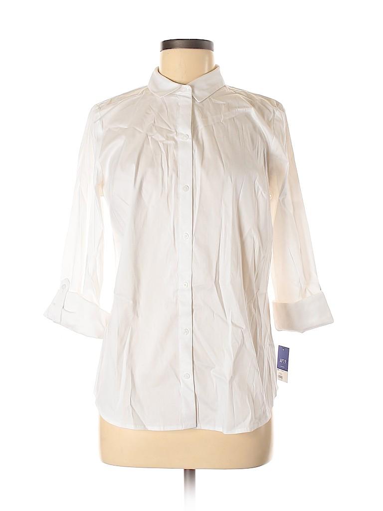 Apt. 9 Women Long Sleeve Button-Down Shirt Size M