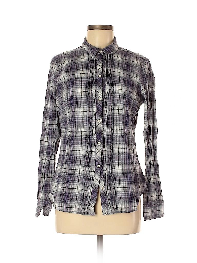 Eddie Bauer Women Long Sleeve Button-Down Shirt Size M