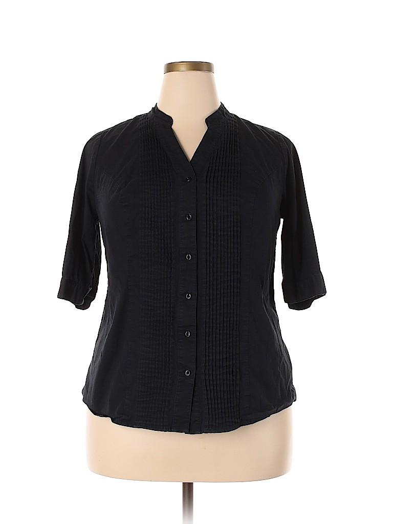 Lane Bryant Women 3/4 Sleeve Button-Down Shirt Size 16 (Plus)