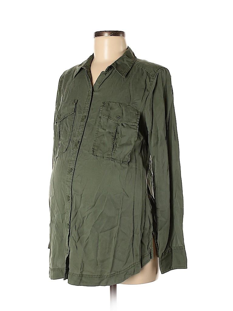LED Luxe Essentials Denim Women Long Sleeve Button-Down Shirt Size M (Maternity)