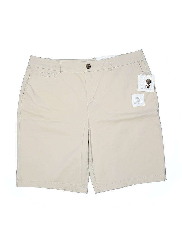 Croft & Barrow Women Khaki Shorts Size 18 (Plus)