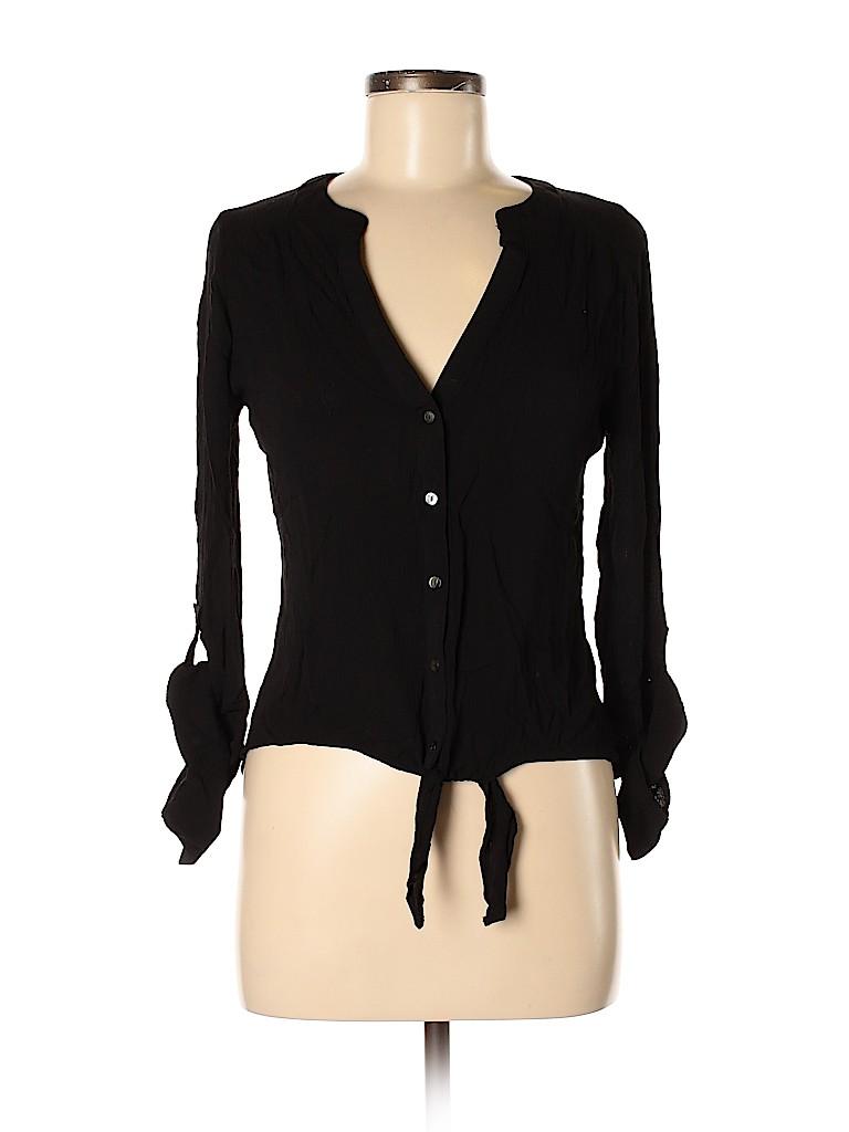 Candie's Women Long Sleeve Button-Down Shirt Size M