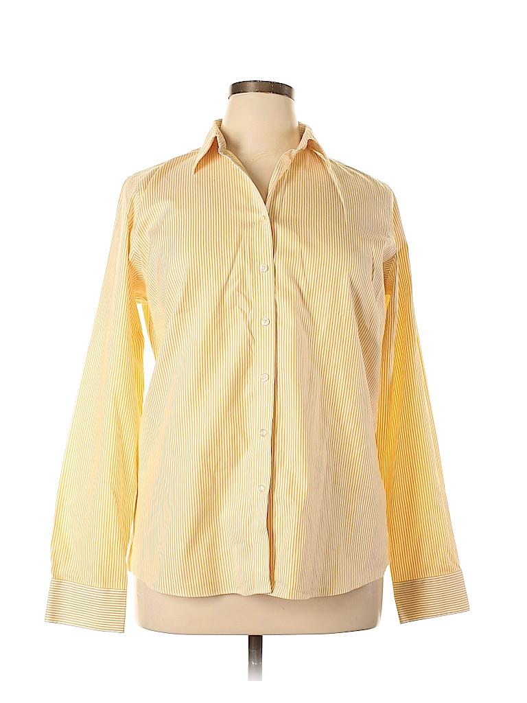 Lands' End Women Long Sleeve Button-Down Shirt Size 16 (Tall)