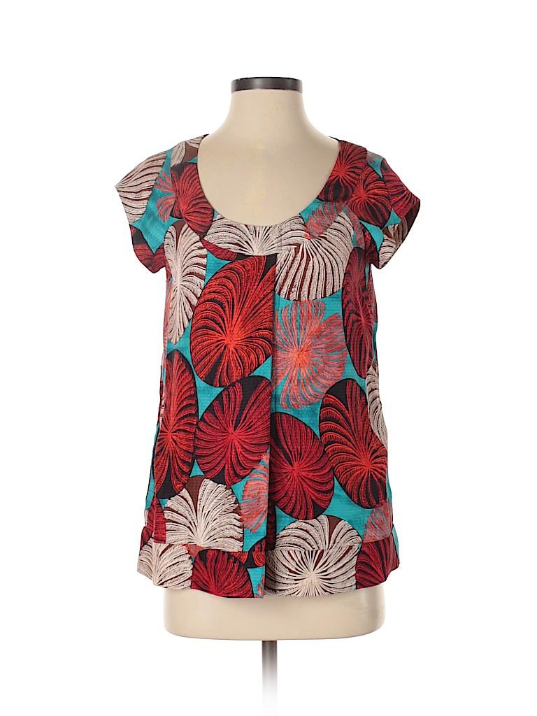 Diane von Furstenberg Women Short Sleeve Silk Top Size 2