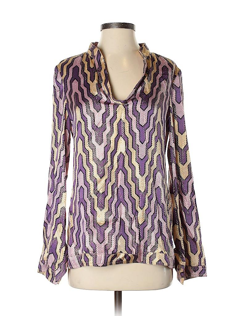 Tory Burch Women Long Sleeve Silk Top Size 4