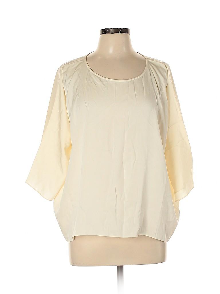 Theory Women 3/4 Sleeve Silk Top Size L