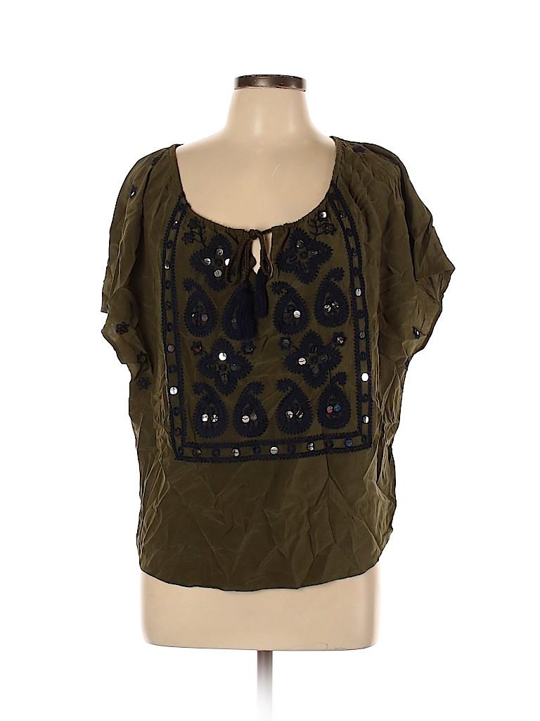 Tory Burch Women Short Sleeve Silk Top Size 10