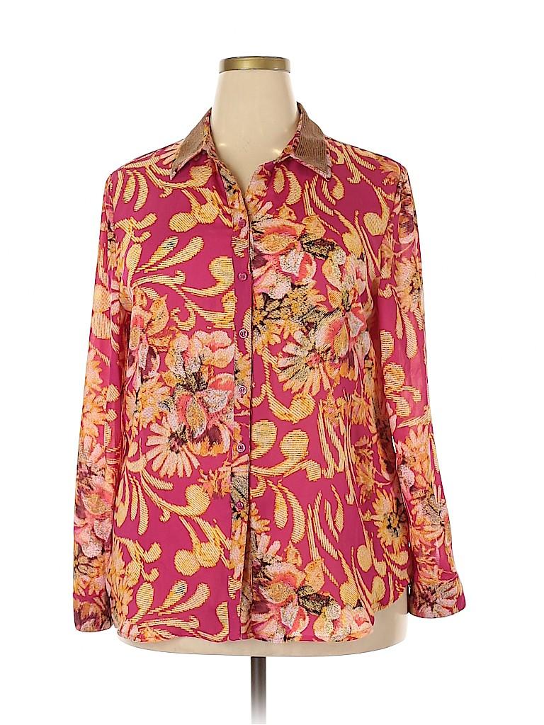 JM Collection Women Long Sleeve Blouse Size 18 (Plus)