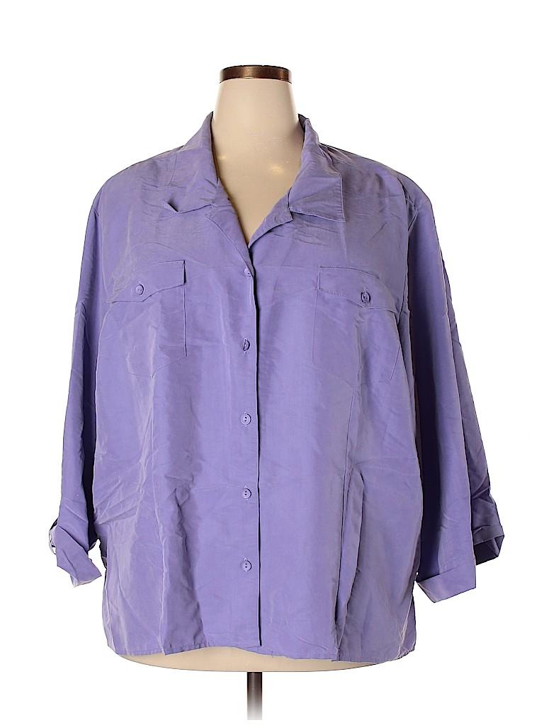 Maggie Barnes Women 3/4 Sleeve Button-Down Shirt Size 34W (Plus)