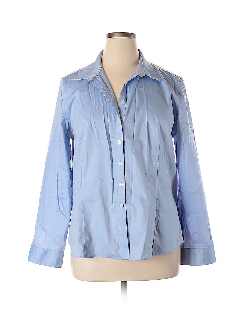 Ellen Tracy Women Long Sleeve Button-Down Shirt Size XL