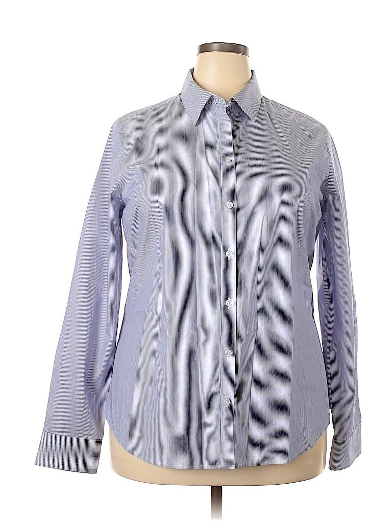 George Women Long Sleeve Button-Down Shirt Size 20 (Plus)