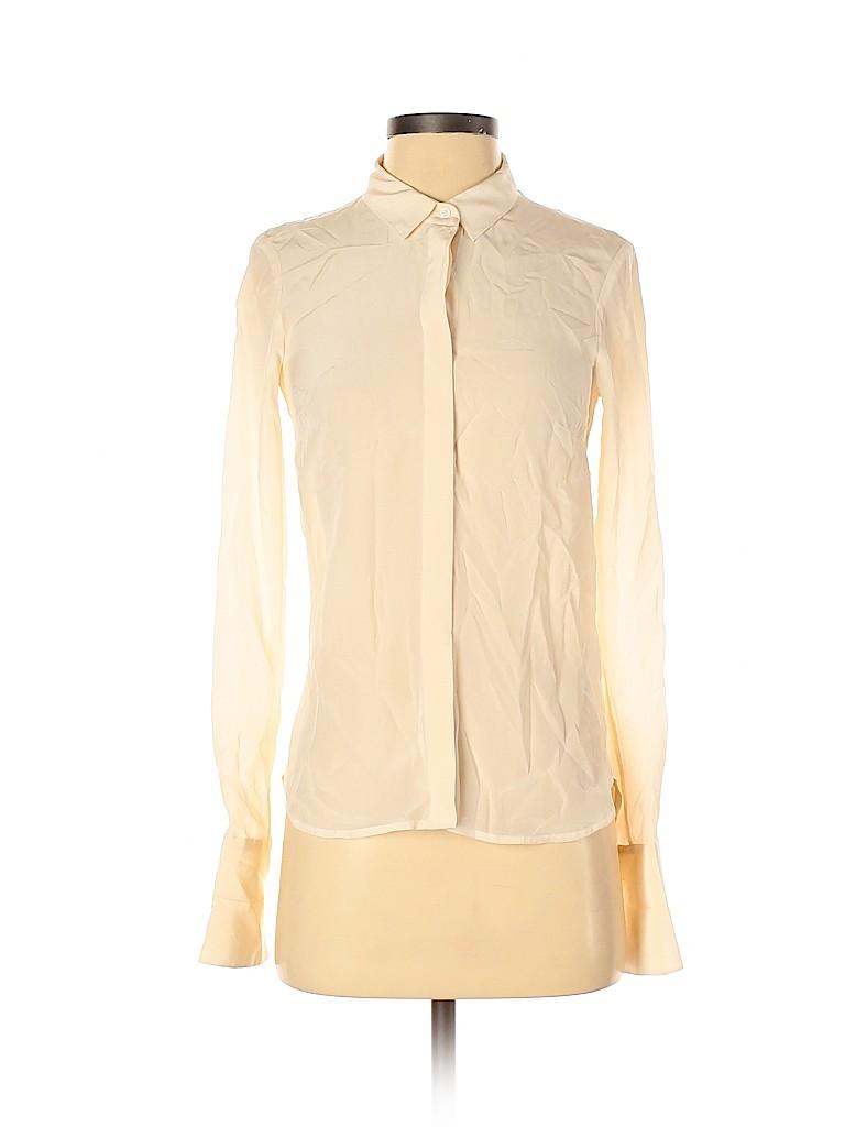 H&M Women Long Sleeve Silk Top Size 2