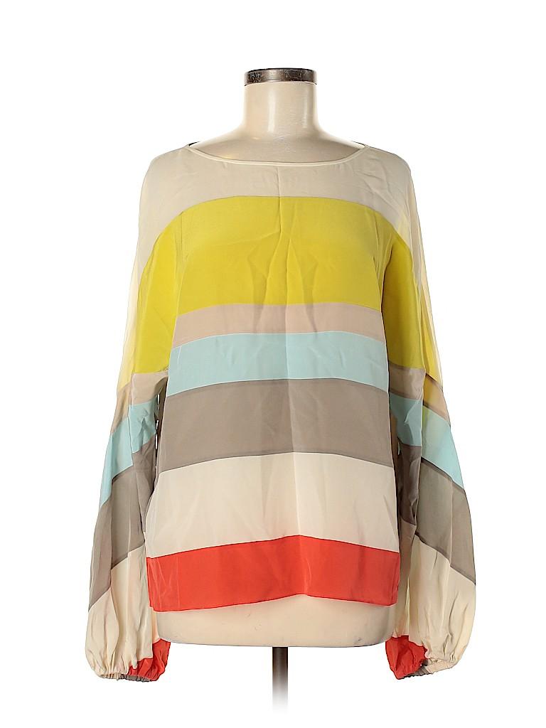 BCBGMAXAZRIA Runway Women Long Sleeve Silk Top Size M