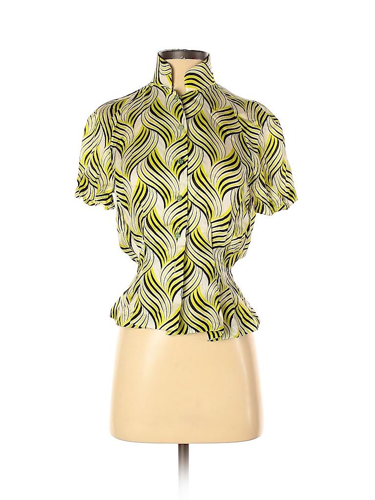 Shanghai Tang Women Short Sleeve Silk Top Size 4