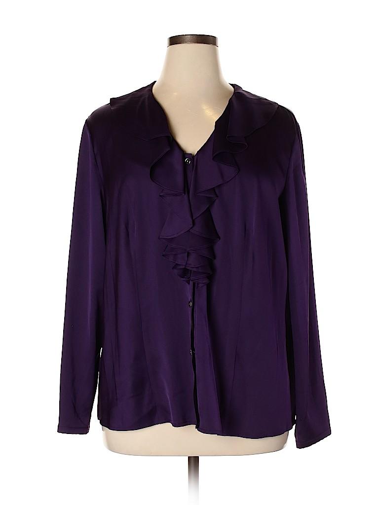 Talbots Women Long Sleeve Silk Top Size 16